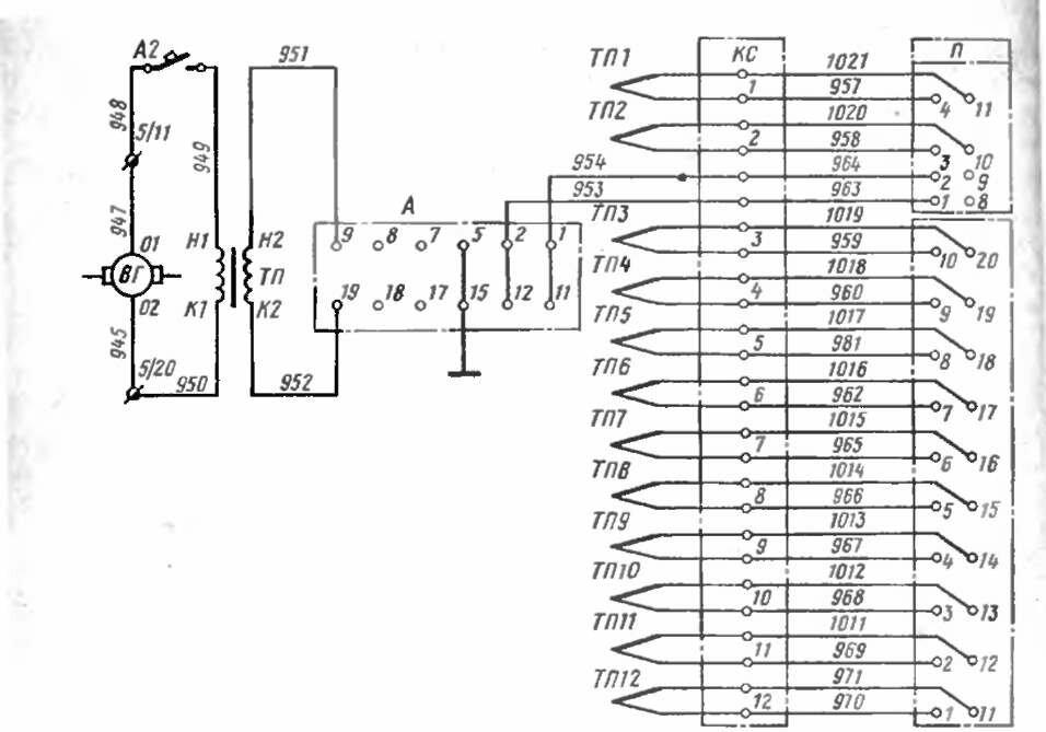 Схема внешних электрических соединений системы термоконтроля дизеля.