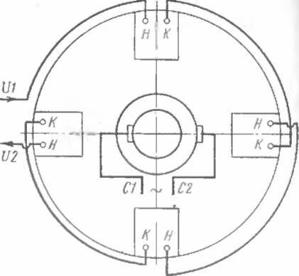 Схема внутренних электрических соединений синхронного подвозбудителя ВС-652. с1. с2 - выводы с контактных колец: VI.