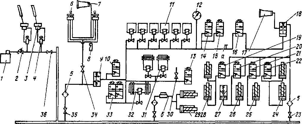 Рис 166 Схема пневматической