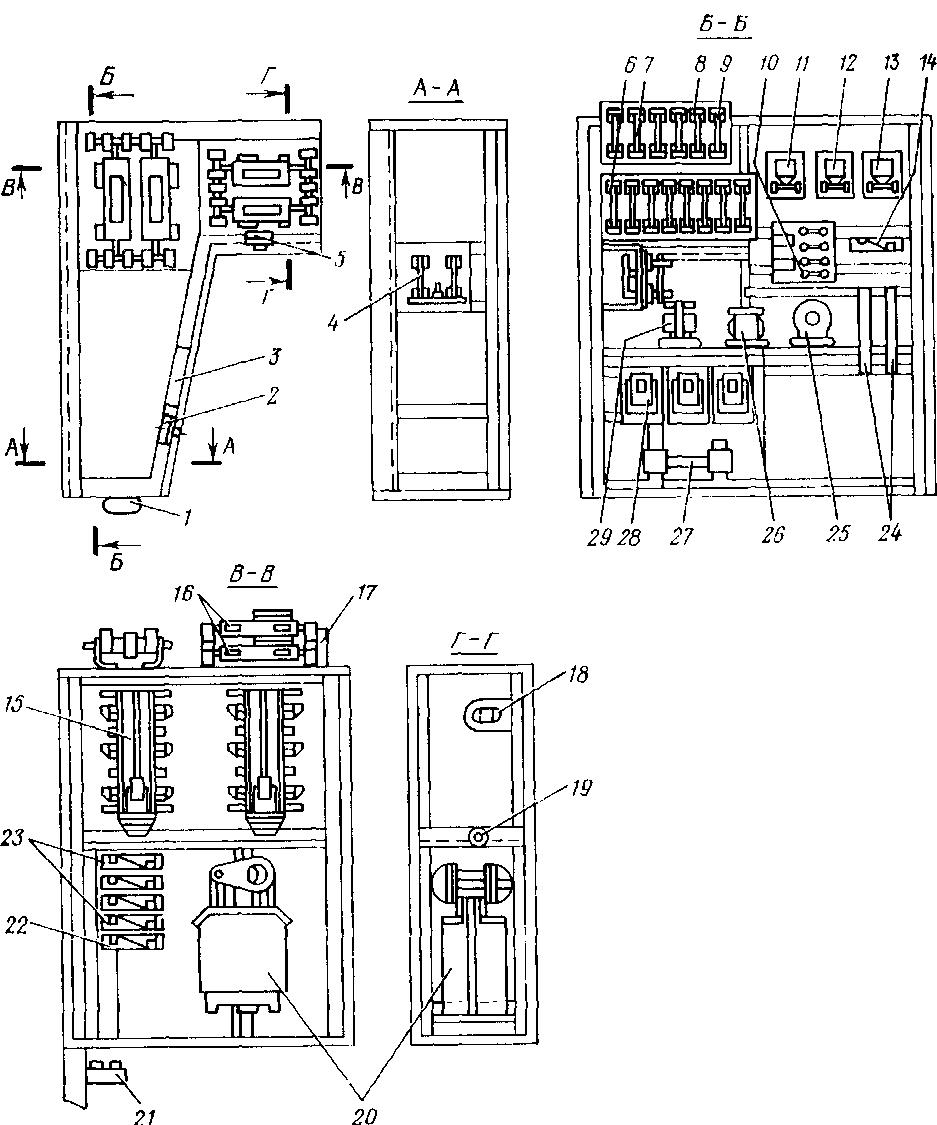 Расположение электрооборудования в левой высоковольтной камере тепловоза 2ТЭ10В