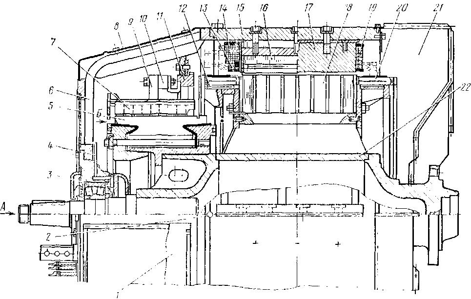 Тяговый генератор тина ГП-311Б (продольный и поперечный разрезы) тепловоза 2ТЭ10В