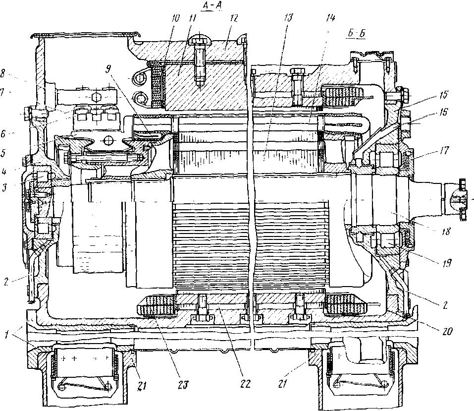 Тяговый электродвигатель типа ЭД-118А 1 - вкладыши моторио-осевого подшипника; 2 - трубки подачи смааки; з - роликовый под-7 -изолятор; 8 - кронштейн; 9 - уравнители; 10 - катушка добавочного полюса, 11 - до-никовый задний, 16 - дренажное отверстие, 17 - уплотиителыше лабириніное котьцо, 18 - (шапки) моторно-осевою подшипника, 22 - їлавиьій полюс; 23 - катушка иывного полюса, 27 - болты крепления корпуса моторно осевого тепловоза 2ТЭ10В