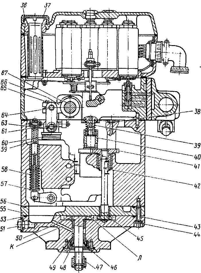 Вентилятор (продольные разрезы) тепловоза 2ТЭ116