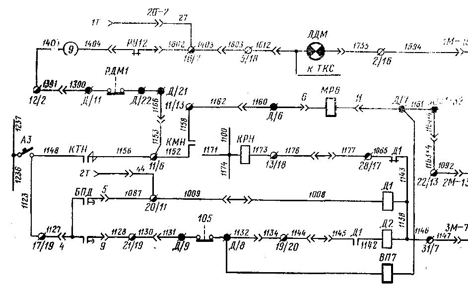 Схема включения контакторов Д1
