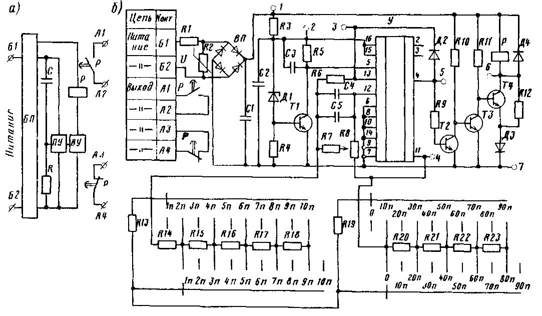 Рис. 65.  Схемы полупроводникового реле времени ВЛ-50: а - структурная, б - принципиальная электрическая; БП...