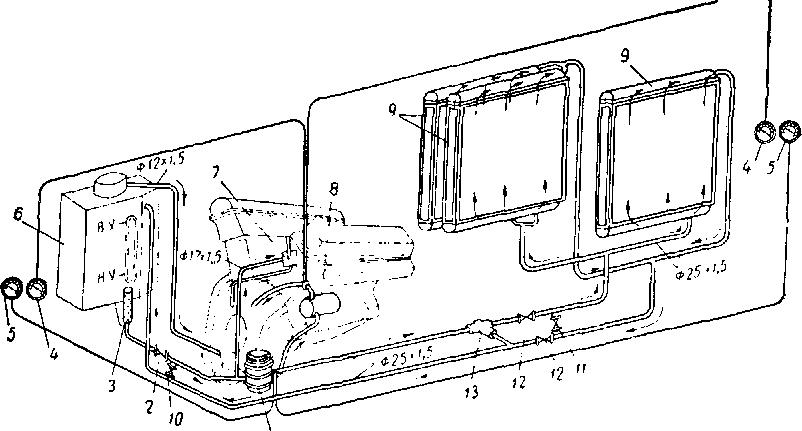 Схема радиатор масляный.